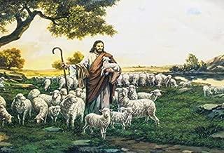 Baocicco Jesus Christ Photo Backdrop 7x5ft Vinyl Photography Background Shepherd Flocks of Sheep Chris and Christian The Flock Master of Soul Wallpaper Religious Activity Portrait Prop
