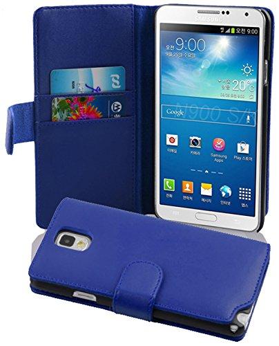 Cadorabo Funda Libro para Samsung Galaxy Note 3 en Azul Brillante - Cubierta Proteccíon de Cuero Sintético Liso con Tarjetero y Función de Suporte - Etui Case Cover Carcasa