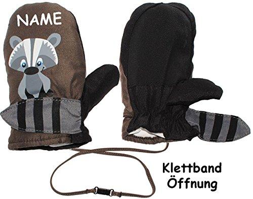 alles-meine.de GmbH alles-meine.de GmbH Fausthandschuhe / Fäustlinge - mit langem Schaft + Klettverschluß - Größen: 1 bis 2 Jahre - süßer Waschbär - incl. Name - LEICHT anzuziehen ! mit Daumen _..