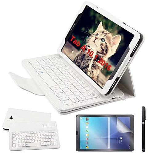 Custodia Galaxy Tab A 10.1 Bluetooth Tastiera con screen protector & stylus, REAL-EAGLE Pelle PU Custodia con Wireless Staccabile Keyboard per Samsung Galaxy Tab A6 10.1 2016 SM-T580/T585, White