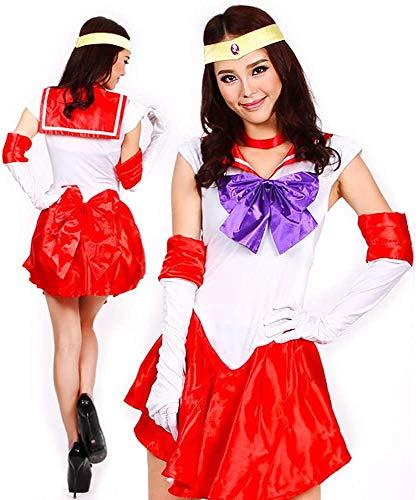 Baipin Disfraz de Guerrera Luna Rojo Vestido y Guantes Blancos, Disfraz Cosplay de Sailor Moon Arco de Princesa Vestido Uniforme de Juego para Mujer, Talla M, Longitud 82cm