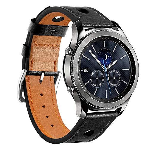 Pulseira Sport de Couro para Samsung Galaxy Watch 46mm - Gear S3 Frontier - Gear S3 Classic - Marca Ltimports (Preto)