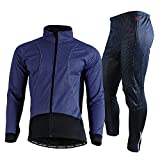 TDHLW Chaqueta de Ciclismo para Hombre Softshell térmica de Invierno Impermeable, Jersey de Ciclismo Manga Larga + Pantalón de Ciclo Largo, Secado rápido, Transpirable, para Correr,Azul,L