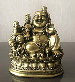 Petrichor Fengshui Laughing Buddha Sitting with Children Buddha for Good Luck & Happiness (6.5 Inches) - Home Decoration & Gifting