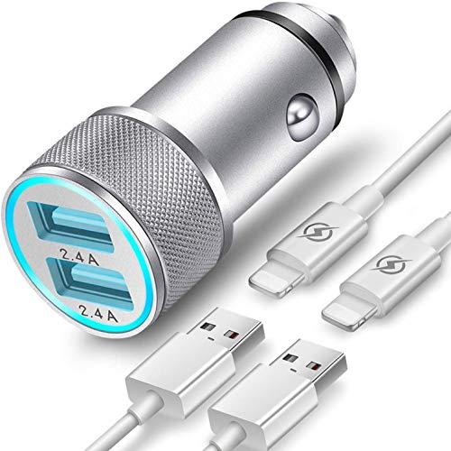 Presa USB per Auto TIKALONG con 2 Cavi Lightning, Caricatore per Accendisigari a 2 Porte da 2,4A, Caricabatterie in Metallo con LED, Compatibile con iPhone 12/11/Pro Max/mini/SE/XS/XR/X/8/7/6 ecc.