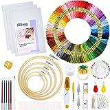 Pllieay Kit completo de bordado de 205 piezas con instrucciones, aros de bordado de bambú...