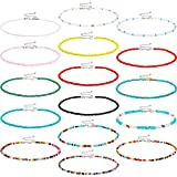 16 Pieces Boho Beads Choker Seed Beaded Choker Necklace Colorful Bead Necklace for Women Girls Jewelry Gifts