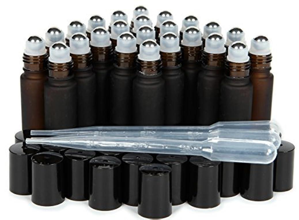 ユニークな品揃え説得Vivaplex, 24, Frosted Amber, 10 ml Glass Roll-on Bottles with Stainless Steel Roller Balls. 3-3 ml Droppers included [並行輸入品]