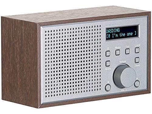 auvisio Webradio: WLAN-Internetradio mit Holzdesign-Gehäuse, 2 Weckzeiten & App, 10 Watt (Küchenradio)