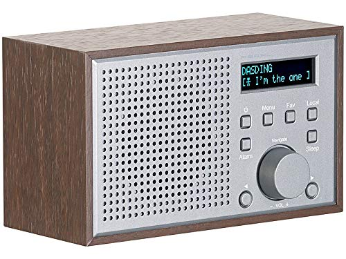 auvisio WLAN Radiowecker: WLAN-Internetradio mit Holzdesign-Gehäuse, 2 Weckzeiten & App, 10 Watt (WLAN Radios)