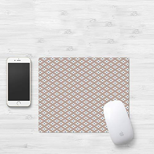 Mauspad mit genähten Kanten,Geometrische, verschlungene Kreise mit kleinen Pluszeichen in abstraktem Desi,rutschfeste Gummi-Basis-Mousepad, Gaming und Office mauspad für Laptop, Computer & PC320x250mm