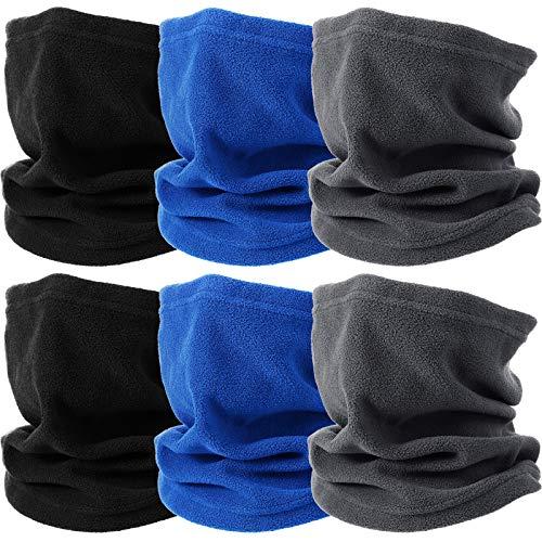 6 Pieces Fleece Neck Gaiter UV Protection Face Scarf Covers Breathable for Men Women (Black, Royal Blue, Dark Gray)