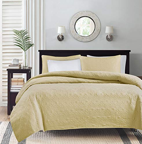 Madison Park Quebec Dusty Pale Yellow 3-Piece Quilted King Coverlet Set—For King or Cal King Bed –Ideal For Warm Climate Room Décor or Add-on For Extra Warmth