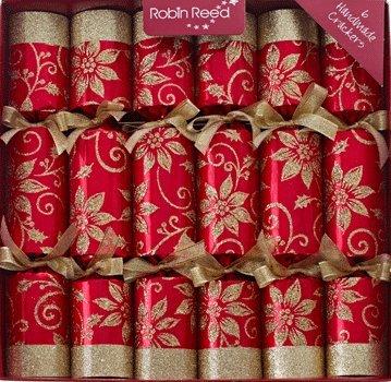 "6 x 12"" Luxury Pointsetta Christmas Crackers"