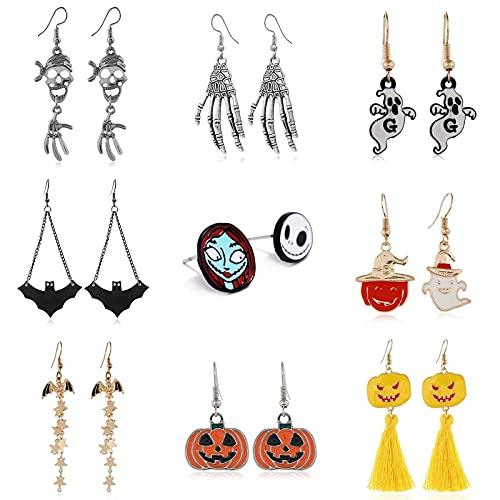 badewanne Pendientes de la serie de Halloween, diseño de calavera de aleación divertida, diseño de calavera de araña, regalo perfecto y regalo de cumpleaños (C)