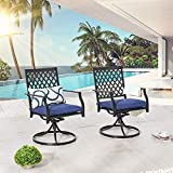 LOKATSE HOME Patio Swivel Rocker Chairs Furniture Metal Outdoor Dining Chairs with Cushion Set of 2
