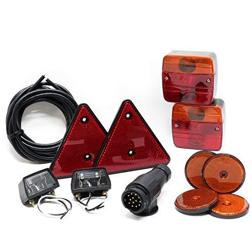 Rückleuchten Set für Anhänger, 12-teilig, 13-poliger Stecker, 5m Kabel,Rücklicht mit E-Prüfzeichen