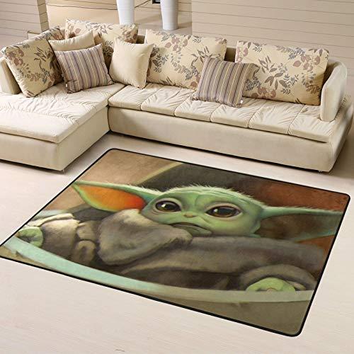Baby Yoda Star The Wars Mandalorian Alfombra de piso Alfombras para sala de estar, dormitorio, decoración del hogar, alfombras antideslizantes de 63 x 48 pulgadas, interior y exterior