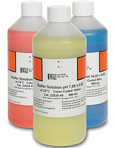 Hach 2947600 Ph Buffer Solution Kit, Color-Coded, Ph 4.01, Ph 7.00 and Ph 10.01