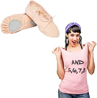 Dance Combo Pack - The Dance Bible Unisex Professional Beige Ballet Canvas Shoes + And 5678 Tank Top for Women | Dance Wear | Shoes for Dance Class | Clothes for Dance Lovers