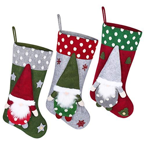 TOYANDONA Weihnachtsstrümpfe Set von 3 Großen Weihnachtsstrümpfen Hängenden Ornamenten für Weihnachtsferien Party Familiendekor