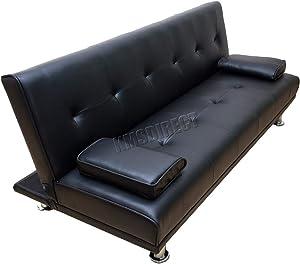WestWood - Sofá cama de piel sintética con un diseño reclinable de 3plazas, de color negro