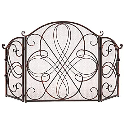 Best Choice Products 3-Panel 55x33in Solid Wrought Iron See-Through Metal Fireplace Screen, Spark Guard Safety Protector w/Decorative Scroll - Copper from Best Choice Products