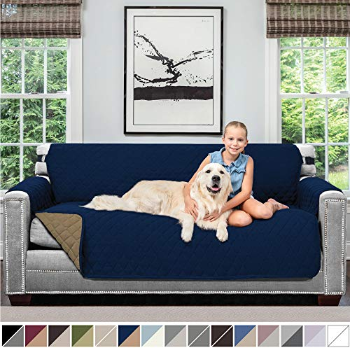 "Sofa Shield Original Reversible Couch Slipcover Furniture Protector, Seat Width Up to 70"", 2 Inch Strap, Machine Washable, Slip Cover Throw for Pets, Dogs, Kids (Sofa: Navy/Sand)"