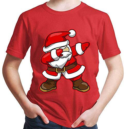 HARIZ Jungen T-Shirt Dab Weihnachtsmann Nikolaus Weihnachten Dab Dabbing Tanzen Karneval Inkl. Geschenk Karte Rot 152/12-13 Jahre