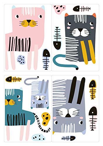 dekodino® Fenstersticker Kinderzimmer Pastell Katzen mit Fischgräten Set