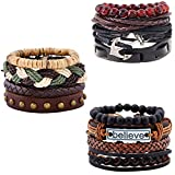 XYIYI 12Pcs Vintage Woven Leather Bracelets Tribal Wooden Beaded Wrist Cuff Bangle Bracelet Set for Men Women (Style1)
