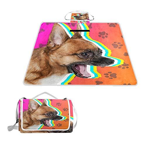 LORONA Hund mit Pfoten Picknickdecke im Freien Extra großer Sandschutz und Beste wasserdichte tragbare Strandmatte für Camping-Wanderfestivals