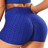 INSTINNCT Damen Sportshort Kurz Leggings Hohe Taille mit Bauchkontrolle Short A-Blau S