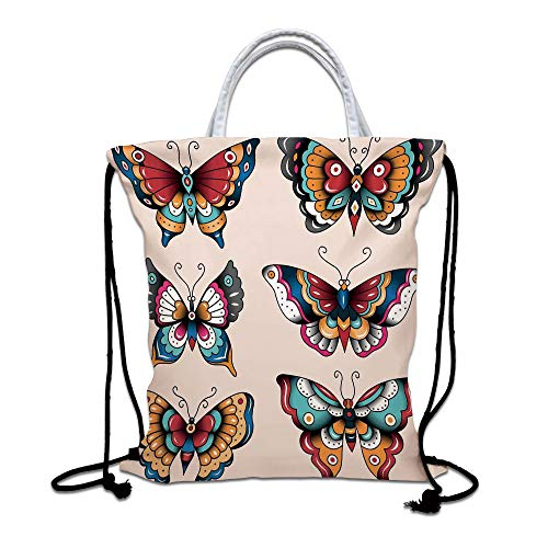 Butterflies Drawstring Bag waterproof, Set of Old School Butterflies with Ornate Colorful Ethnic Style Wings Decor Home Lightweight Gym Sackpack for Hiking Yoga Gym Swimming Travel Beach,Multi