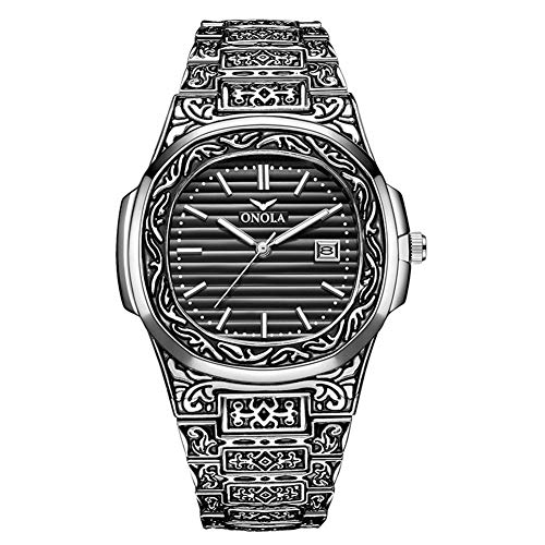 Cqing Herren Analog-Quarzuhr Alloy Strap wareproof mit Vintage Metall geschnitzten Muster Armbanduhr, blaues Zifferblatt, Datumsfenster,F