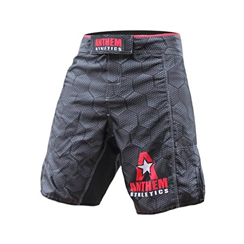 Anthem Athletics Resilience MMA Shorts - Black Hex with Red - 33'