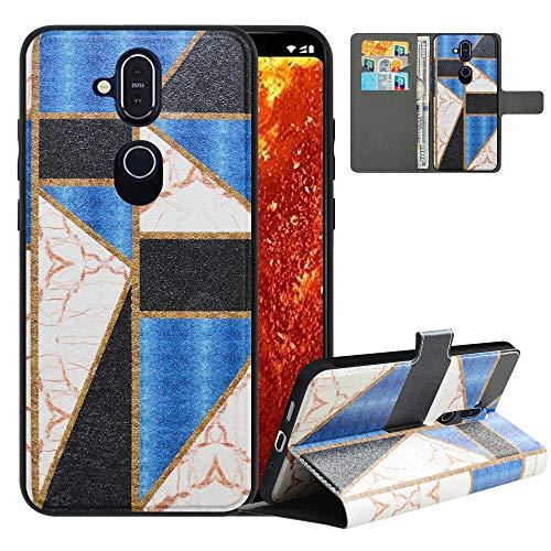 LFDZ Handyhülle für Nokia 8.1 Hülle,Premium 2 in 1 Abnehmbare PU Ledertasche für Nokia 7.1 Plus Hülle,RFID-Blocker Flip Hülle Tasche Etui Schutzhülle für Nokia 8.1 Hülle/Nokia X7 Hülle 2018,Marble