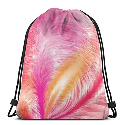 BXBX Trasportare Bags Pink Feathers Seamless Pattern Shoulder Backpack Drawstring Backpack Nylon Folding Bag for School Home Travel Sport