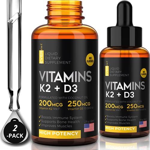 (2 Pack) Liquid Vitamin D3 with K2 - Vitamin D3 Drops 10000 IU + Sublingual Vitamin k2 Liquid with Coconut Oil   Supports Your Bones & Heart and Boost Your Immune System   Organic Vitamin D K2 Liquid