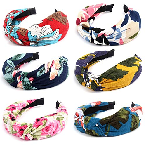 6PCs Knotted Headband for Women, COCIDE Flower Boho Hair Band Wide Headbands Cotton and Chiffon Headbands for Girls Hard Hair Accessories Jewelry for Sport Daily Wear Yoga Training Cosplay Costum