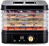 TXOZ-Q Máquina de deshidratador de alimentos eléctricos premium, temporizador digital y control de temperatura de termostato ajustable, 5 bandejas con perfección for bruscas de carne, yogur, hierbas