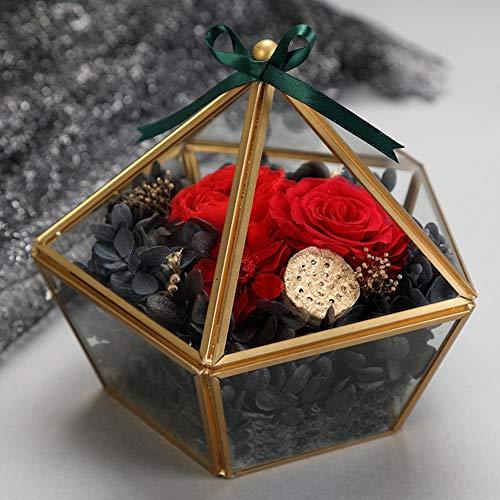 YJYRCYJLH Geometrische Diamant Eeuwige Bloem, Borosilicaat Glas Cover Bloem Kamer Metaal Koper Plating, Doos wenskaart, Rood