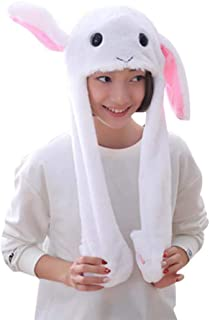 Amosfun Plush Bunny Hat Easter Rabbit Hat with The Ears Popping Up When Pressing The Paws for Kids Children Easter Party C...