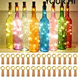 Taiker Wine Bottle Lights with Cork, 30 Pack 20 LED Battery Operated LED Fairy Mini String Lights for DIY, Party, Decor, Christmas, Halloween,Wedding (Warm White)