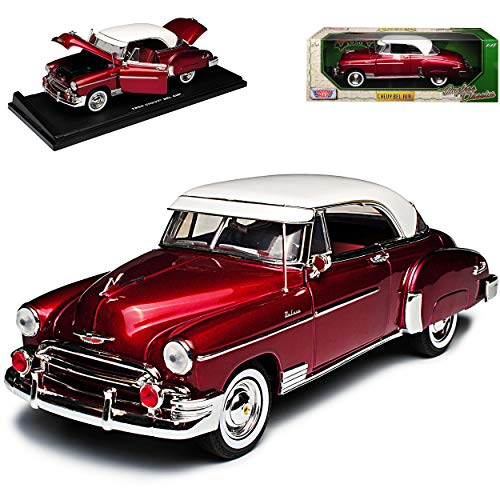 Motormax Chevrolet Chevy Bel Air Coupe Dunkel Rot Metallc mit weissem Dach 1950 1/18 Modell Auto