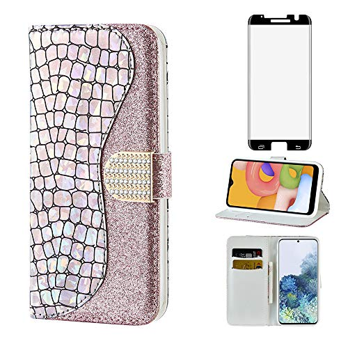 Glitter Wallet Phone Case for Samsung Galaxy S7 Edge with Tempered Glass Screen Protector Cover and Card Holder Slot Stand Flip Glaxay S7edge Gaxaly S 7 Plus GS7 7s 7edge Bling Leather Cases Silver