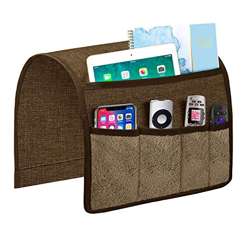 Joywell Sofa Armrest Organizer with 5 Velvet Pockets Remote Holder on Couch amp Chair Arm for TV Remote Control Magazine Books Cell Phone iPad Chocolate