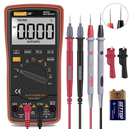 Digital Multimeter mit Automatischer Bereichswahl - hintergrundbeleuchtetem Zähler Multitestgerät Spannungsprüfer Automatisch Umschaltendes Elektronisches Messgerät (18B)
