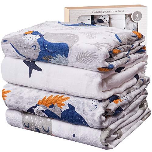 Viviland Mantas de Muselina de Bambú Algodón,Muselinas Pack de 4,Mantitas para Bebes 120x120 cm, Mapache, Zorro, Estrella
