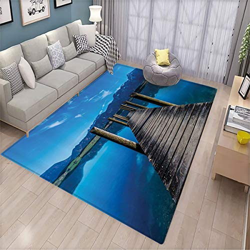 Wooden Bridge Decor Collection Super Soft Floor mat Wooden Pier Jetty on Lake Mountain Clear Sky Reflection Picture Room Living Room Bedroom Bathroom Floor mat 6.6'x10' Navy Blue Ecru
